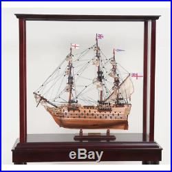 26.5-inch DISPLAY STAND CASE for Collectibles Ships Yachts Boats Models Wood