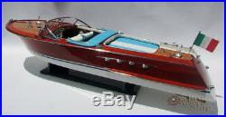34 Super Riva Aquarama Handcrafted Wooden Model Boat Ready for display