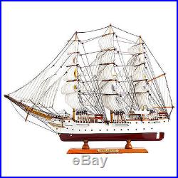 60cm 23.6 Hand-Crafted Wooden Sailboat Ship Model Miniature for Display / Deco