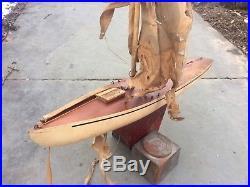 Antique Wooden Pond Yacht For Restoration Circa 1930