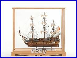 Display Case for Midsize Tall Ship Clear Finish Model Display