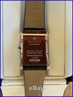Gucci Luxury Wrist Watch for men NWT Model 0086M Black leather free shipping