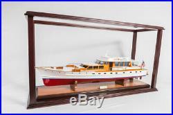 Hardwood Display Case For Motor Yacht Model Ship Boat 95cm