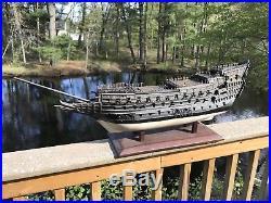 Large Antique Wooden Model Ship For Restoration Handmade 19th