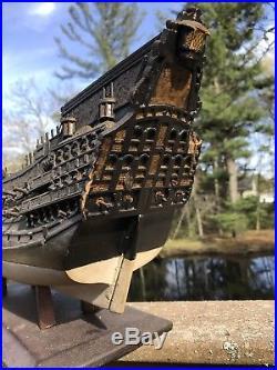 Large Antique Wooden Model Ship for Restoration Handmade 19th Century Victorian