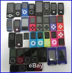 Lot of 33 MP3 Players Mixed Brands & Models / For Parts Only Free Shipping