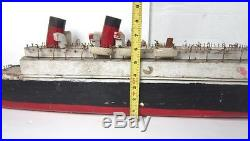 Old Vintage FOLK ART 34 Large WOOD MODEL TITANIC SHIP/BOAT-For Repair-AS-FOUND