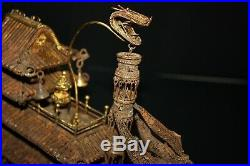 SHIP steel vintage hand made river boat toy model made for good luck