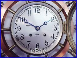 VINTAGE CHELSEA 14 PILOT MODEL or YACHT WHEEL SHIPS BELL CLOCK FOR RESTORATION