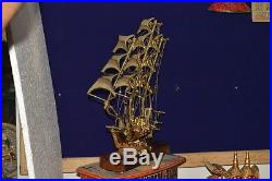 Vintage Brass Ship Model For Home Decor / Brass Sailing Ship / Brass Artifacts