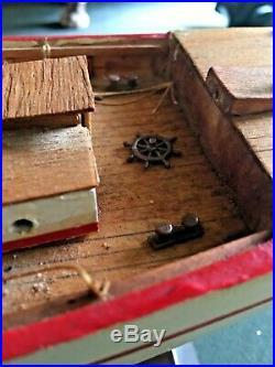 Vintage Schooner Wood Ship Model for Restoration