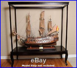XXL Wooden Display Case For Tall Ship 58 Models & Sailboats Cabinet Table Stand
